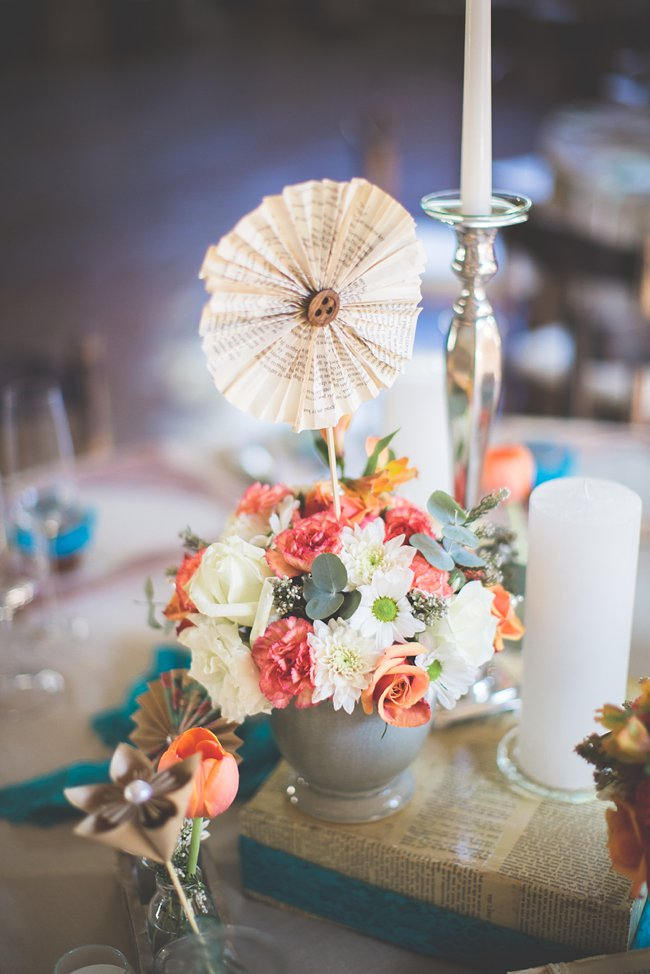 Paper Rosette // Wedding Decor Ideas // Delightfully Handmade DIY Teal Turquoise Peach Vintage South African Wedding // Genevieve Fundaro Photography