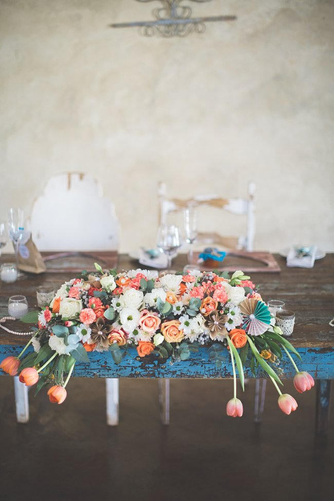 Sweetheart table // Wedding Decor Ideas // Delightfully Handmade DIY Teal Turquoise Peach Vintage South African Wedding // Genevieve Fundaro Photography