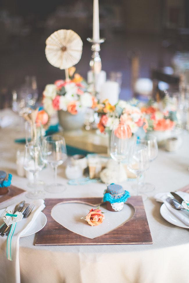 Table Setting // Wedding Decor Ideas // Delightfully Handmade DIY Teal Turquoise Peach Vintage South African Wedding // Genevieve Fundaro Photography