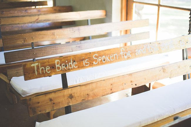 Wedding Bench at  Wedding Ceremony // Delightfully Handmade DIY Teal Turquoise Peach Vintage South African Wedding // Genevieve Fundaro Photography