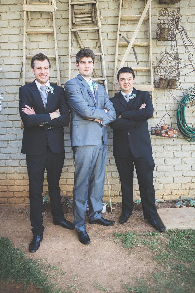 Groomsmen Attire //   // Delightfully Handmade DIY Teal Turquoise Peach Vintage South African Wedding // Genevieve Fundaro Photography
