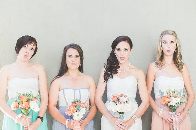 Mint Peach Purple Mismatched Bridesmaids Dressess   // Delightfully Handmade DIY Teal Turquoise Peach Vintage South African Wedding // Genevieve Fundaro Photography
