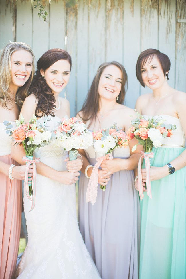 Bridesmaid Bouquet //  // Delightfully Handmade DIY Teal Turquoise Peach Vintage South African Wedding // Genevieve Fundaro Photography