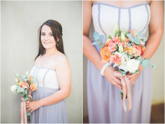 Bridesmaids Bouquet  // Delightfully Handmade DIY Teal Turquoise Peach Vintage South African Wedding // Genevieve Fundaro Photography