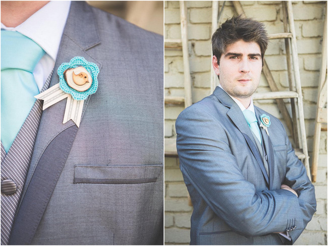 Boutonnierre   // Delightfully Handmade DIY Teal Turquoise Peach Vintage South African Wedding // Genevieve Fundaro Photography