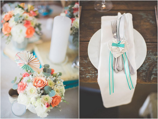 Place Setting and Paper Flowers // Wedding Decor Ideas // Delightfully Handmade DIY Teal Turquoise Peach Vintage South African Wedding // Genevieve Fundaro Photography