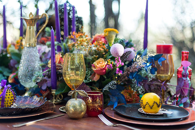 Boho Forest Tablescape // Purple Orange and Yellow Gypsy Wedding Ideas // Memory Box Photography