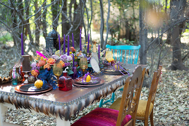 Rustic forest tablescape // Purple Orange and Yellow Gypsy Wedding Ideas // Memory Box Photography
