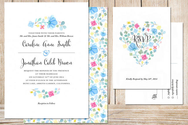 Gorgeous Watercolor Wedding Invitations 5