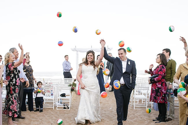 Nautical Beach Wedding Ceremony in Coral and Navy  // Jack and Jane Photography