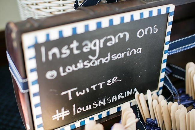 Instagram Sign // Nautical Beach Wedding in Coral and Navy Blue // Jack and Jane Photography