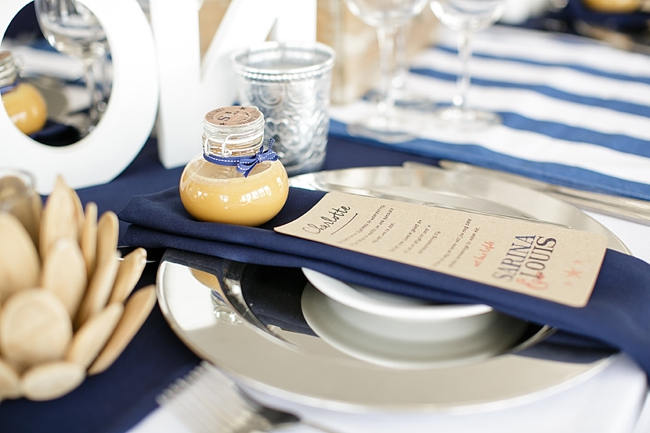 Table Place Setting // Nautical Beach Wedding in Coral and Navy Blue // Jack and Jane Photography