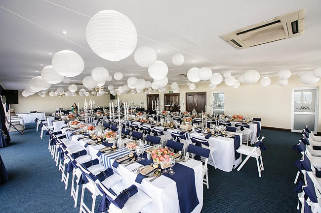 Reception Tables // Nautical Beach Wedding in Coral and Navy Blue // Jack and Jane Photography