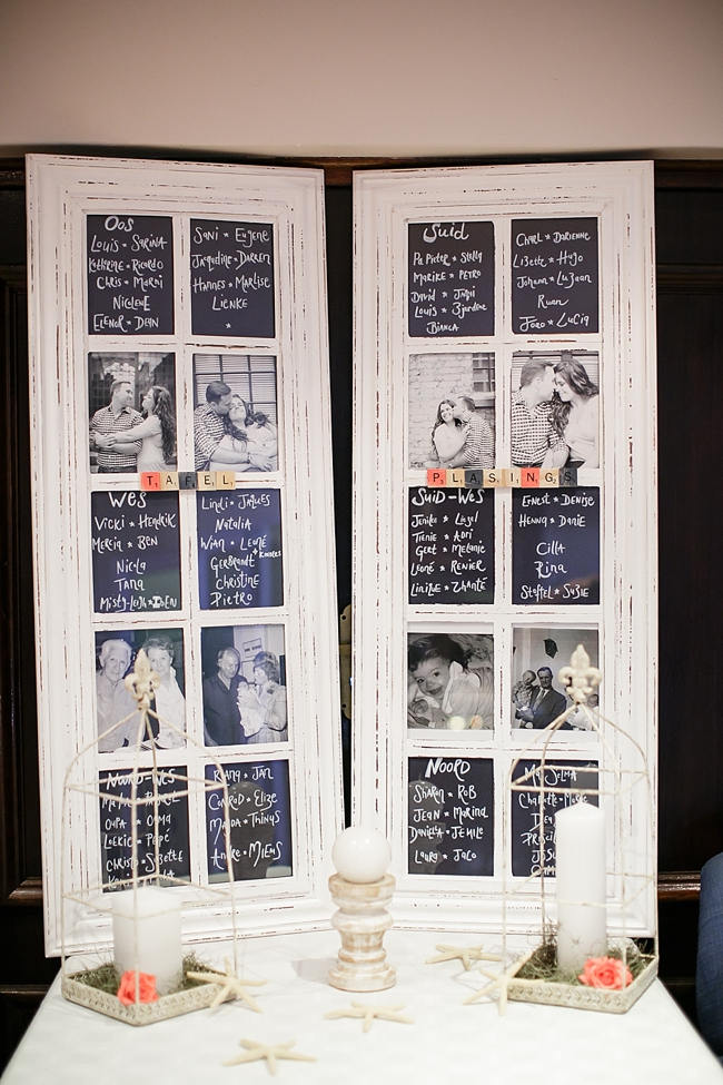 Wooden Door as Seating Chart // Nautical Beach Wedding in Coral and Navy Blue // Jack and Jane Photography