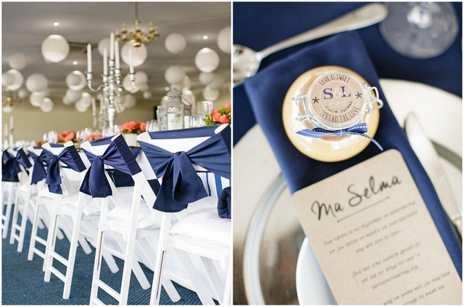 Navy Chair Sash and Table Setting // Nautical Beach Wedding in Coral and Navy Blue // Jack and Jane Photography