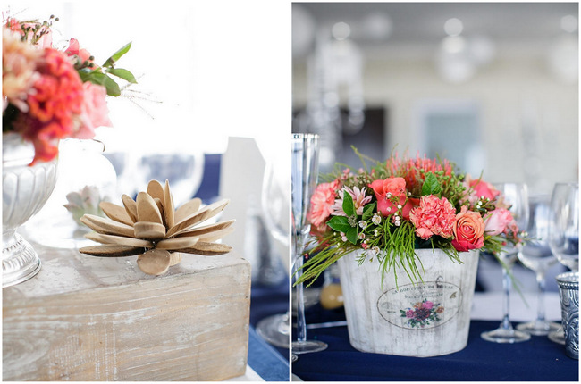 Peach and Coral Wedding Flowers // Nautical Beach Wedding in Coral and Navy Blue // Jack and Jane Photography