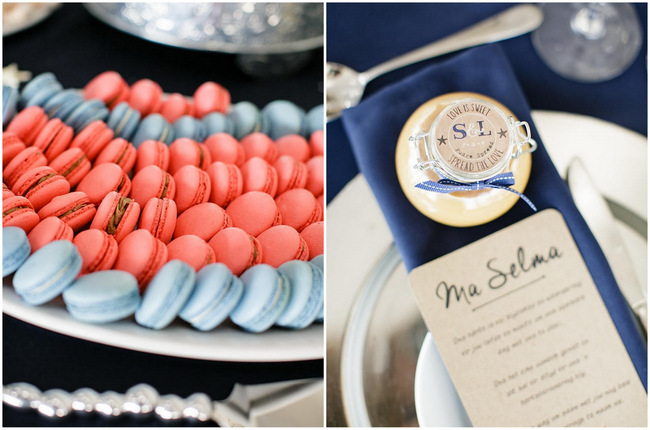 Macaroons // Nautical Beach Wedding in Coral and Navy Blue // Jack and Jane Photography