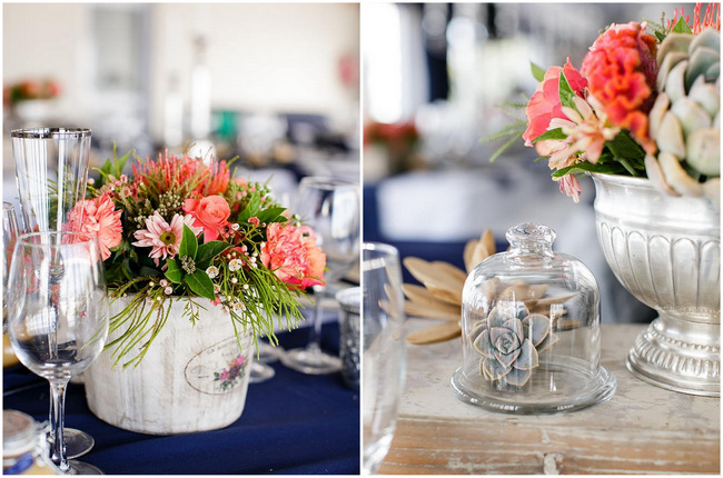 Wedding Table Flowers // Nautical Beach Wedding in Coral and Navy Blue // Jack and Jane Photography