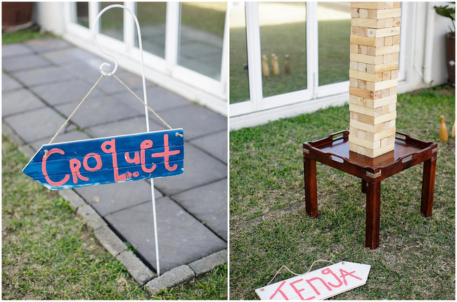 Beach Croquet and Jenga // Nautical Beach Wedding Ceremony in Coral and Navy  // Jack and Jane Photography