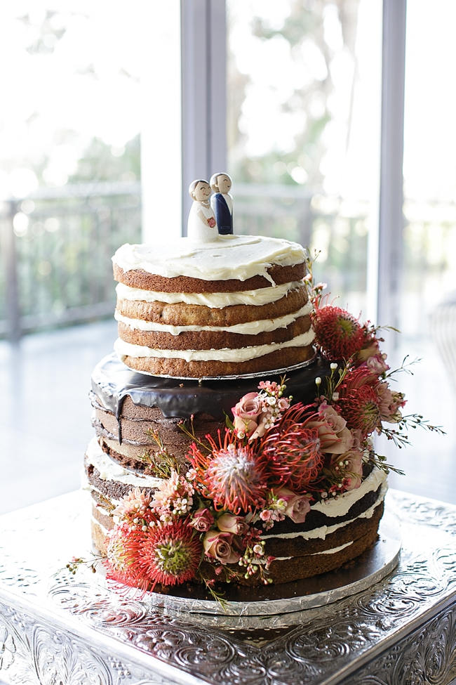 Naked Cake with Protea // Nautical Beach Wedding in Coral and Navy Blue // Jack and Jane Photography