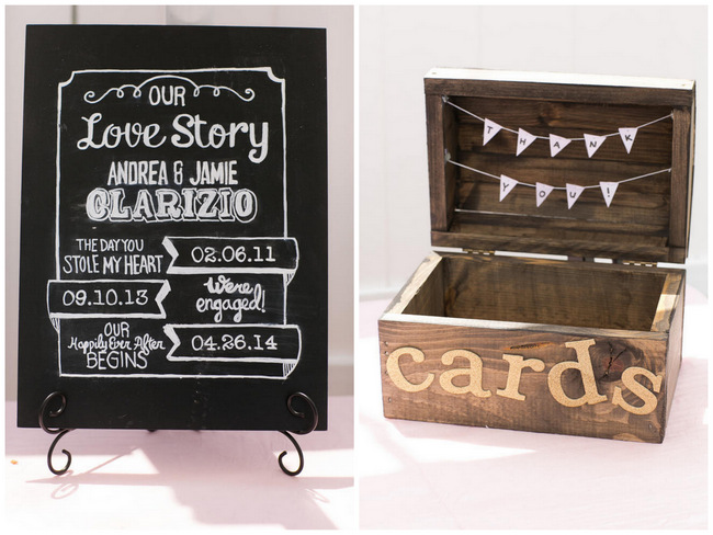 Card box and Wedding Sign  // Beautiful Rustic Elegance Wedding in Blush Cream Gold // Carly Fuller Photography // Click for more details on www.ConfettiDaydreams.com