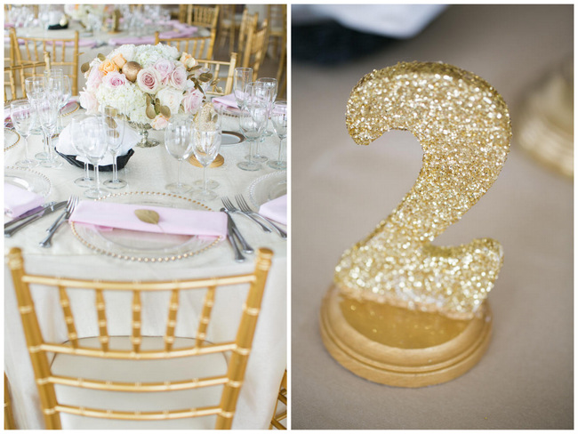 Glitter table numbers  // Beautiful Rustic Elegance Wedding in Blush Cream Gold // Carly Fuller Photography // Click for more details on www.ConfettiDaydreams.com