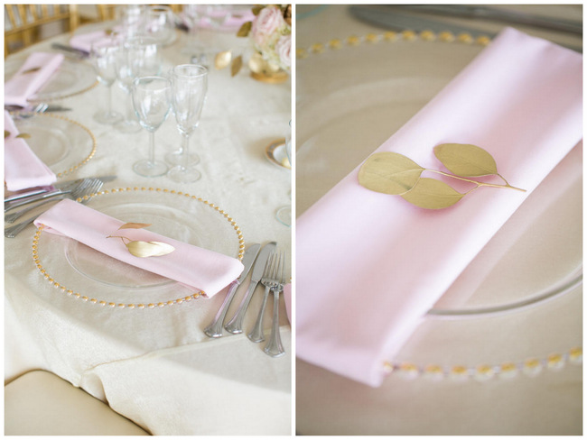 Place Setting  // Beautiful Rustic Elegance Wedding in Blush Cream Gold // Carly Fuller Photography // Click for more details on www.ConfettiDaydreams.com