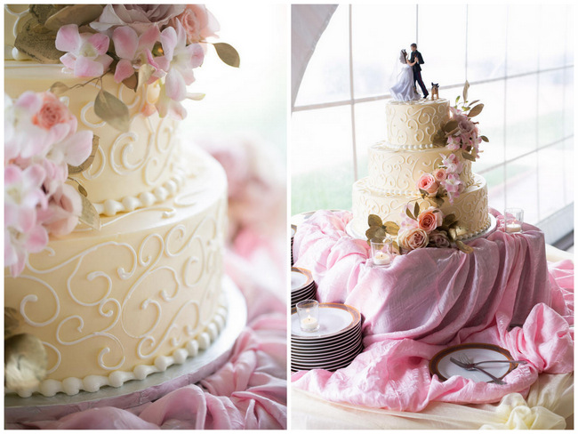Flower Wedding Cake  // Beautiful Rustic Elegance Wedding in Blush Cream Gold // Carly Fuller Photography // Click for more details on www.ConfettiDaydreams.com