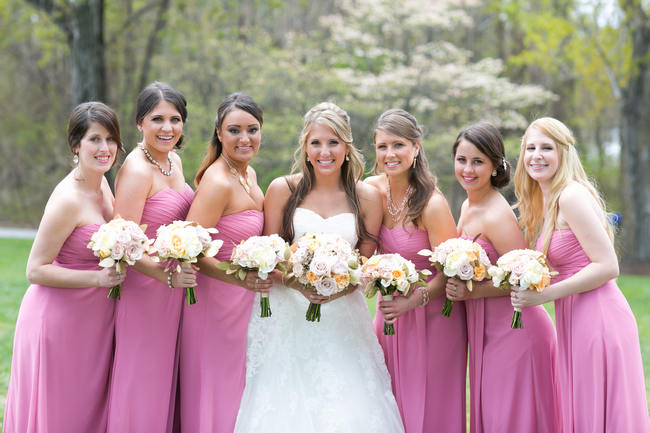 Pink Bridesmaids Dress //  Beautiful Rustic Elegance Wedding in Blush Cream Gold // Carly Fuller Photography // Click for more details on www.ConfettiDaydreams.com