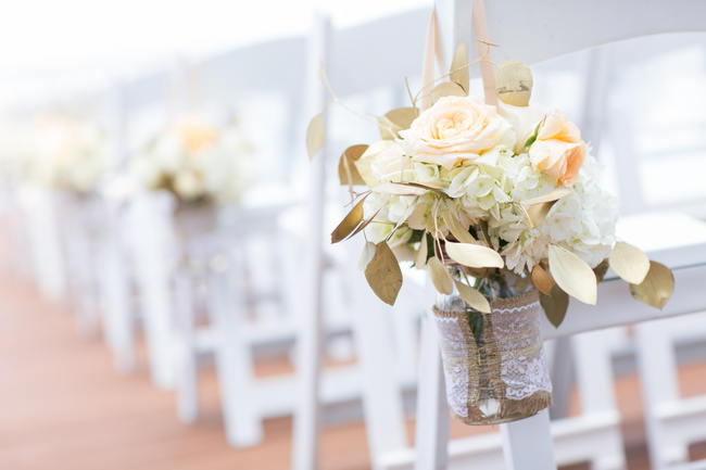 Aisle Decor // Beautiful Rustic Elegance Wedding in Blush Cream Gold // Carly Fuller Photography // Click for more details on www.ConfettiDaydreams.com