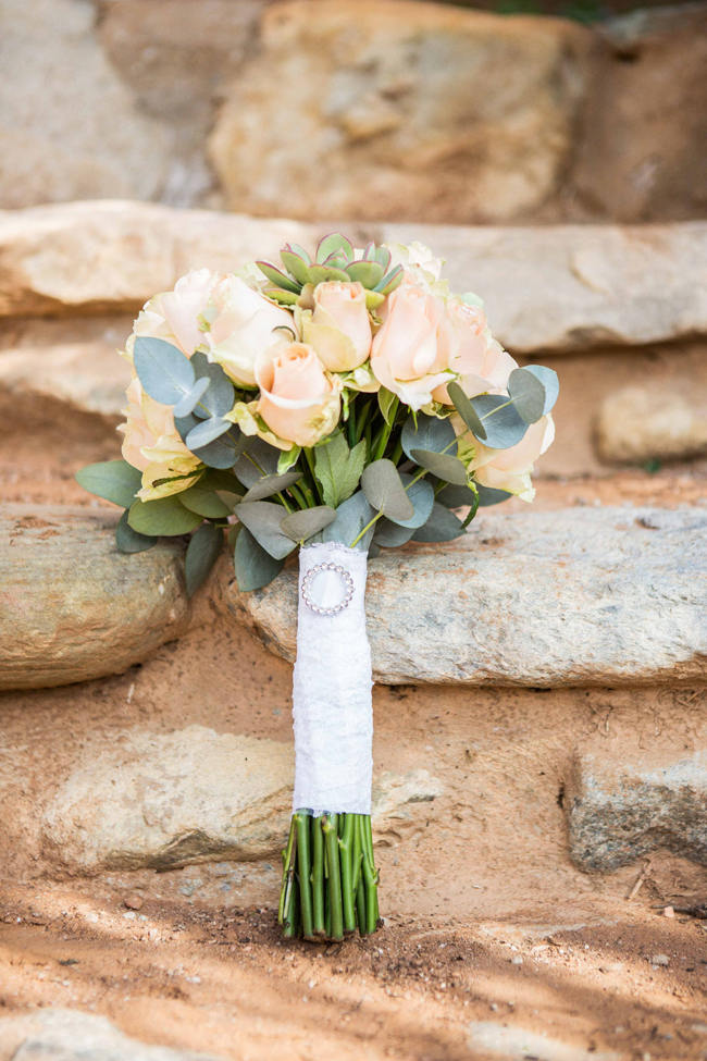 Rustic Bouquet in cream and green // Rustic South African Farm Wedding in Peach // Marli Koen Photography