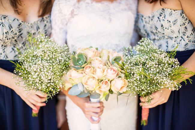 Bride and Bridesmaids Bouquet Ideas // // Rustic South African Farm Wedding in Peach // Marli Koen Photography