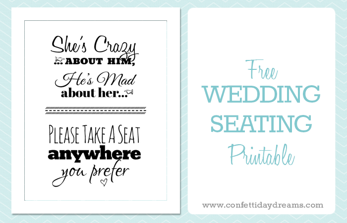 Free Printable Wedding Download: Pick A Seat Sign