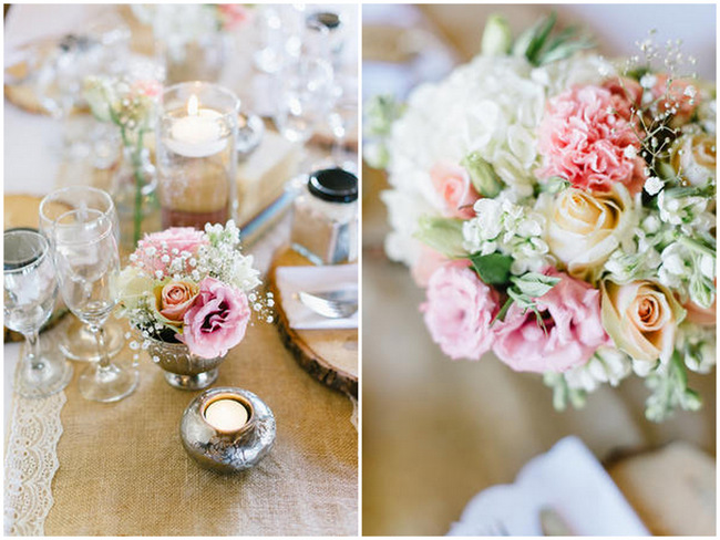 Table Flowers // Vintage Chic Barn Wedding Reception // Louise Vorster Photography