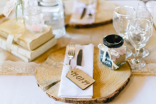 Wood Slab Table Setting // Vintage Chic Barn Wedding Reception // Louise Vorster Photography