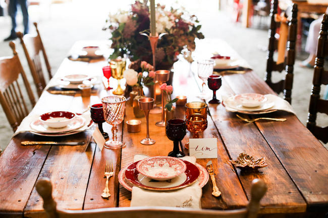 Delicious Gold & Maroon Autumn Barn Wedding Inspiration {Photography by Seneca}
