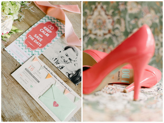 """""""I Do"""" Wedding Shoe Sticker // Mint Coral South African Wedding // Louise Vorster Photography"""
