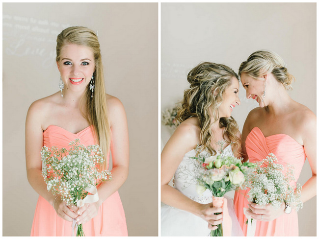 Peach Bridemaid Ideas // Mint Coral South African Wedding // Louise Vorster Photography