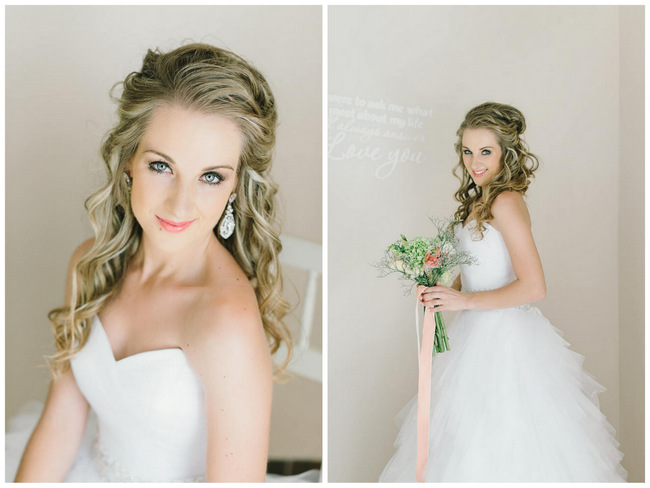 Long Wedding Hairstyle // Mint Coral South African Wedding // Louise Vorster Photography