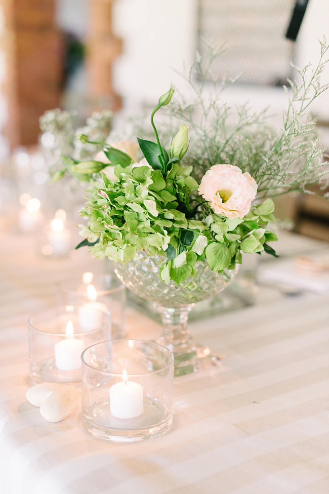 Green and White Wedding Flower Arrangement //   Mint Coral South African Wedding // Louise Vorster Photography