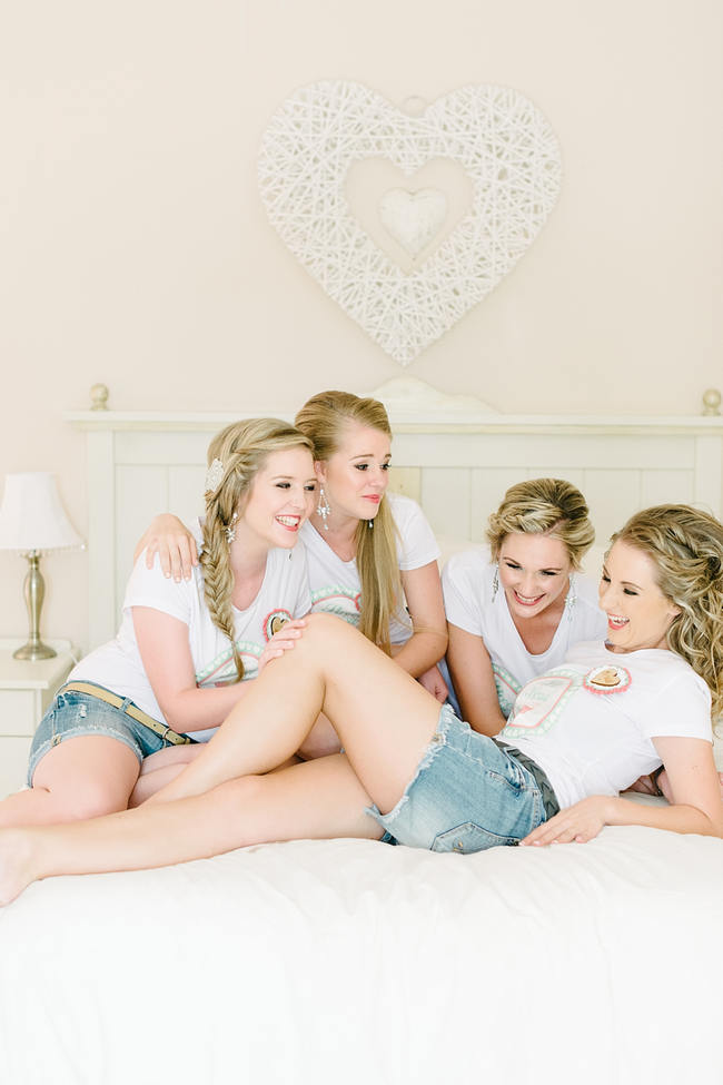 bridesmaids getting ready photo idea // Mint Coral South African Wedding // Louise Vorster Photography
