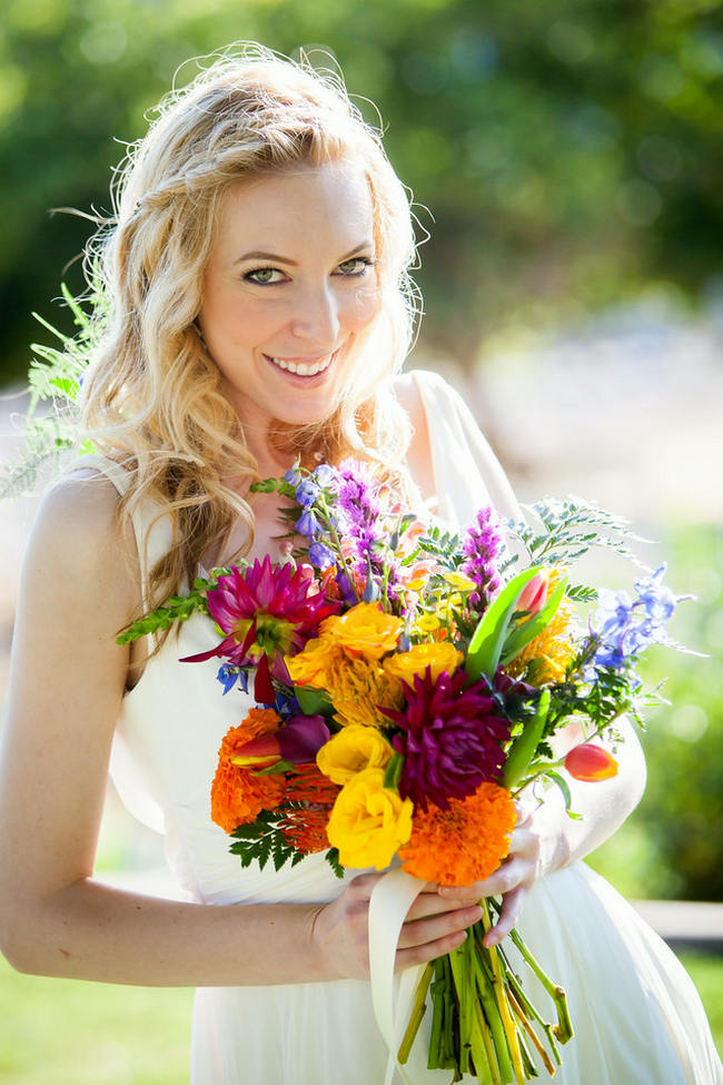 Bright Yellow, Green and Purple Bouquet // Bright and Bold California Bridal Style // Colson Griffith Photography