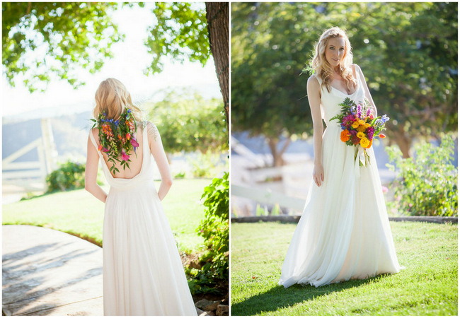 Cascading Tropical Flower Hairpiece // Bright and Bold California Bridal Style // Colson Griffith Photography