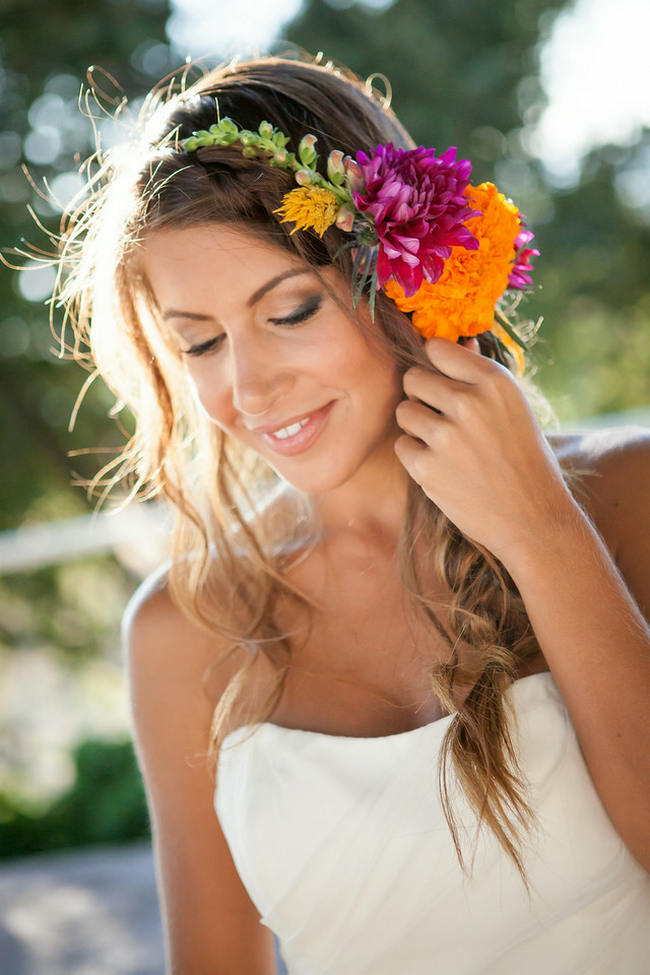 Tropical Flower Hairpiece // Bright and Bold California Bridal Style// Colson Griffith Photography