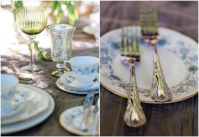 Whimsical Garden Wedding table setting in silver Grey and blue // Nikki Meyer Photography