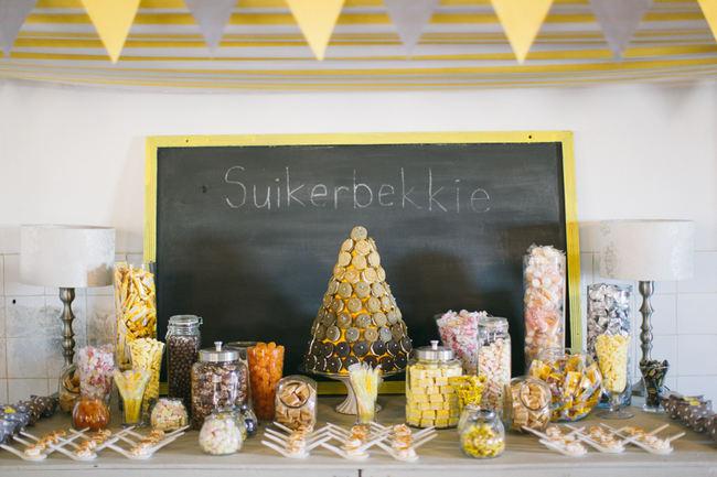 Candy buffet //  Beautiful Gray and Yellow Rustic Winter Wedding Reception Decor / Jenni Elizabeth Photography