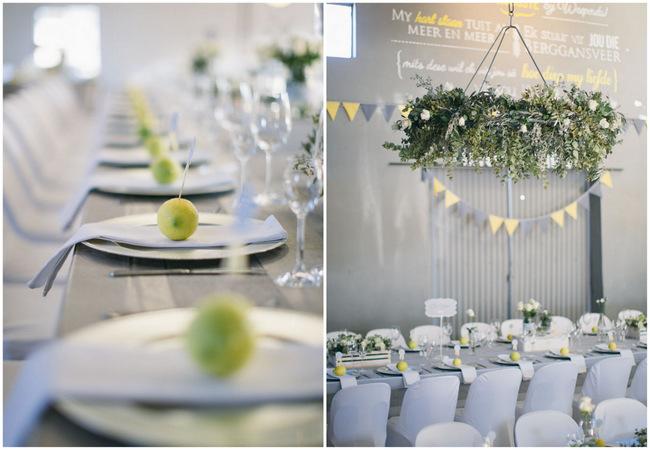 Lemon place setting // Beautiful Gray and Yellow Rustic Winter Wedding Reception Decor / Jenni Elizabeth Photography