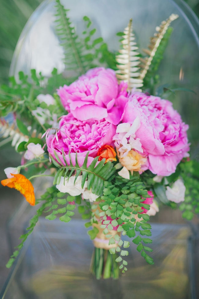 Beautiful Peony Bouquets // Orange Hot Pink Watercolor Wedding Ideas by Alexandra Wallace Photography