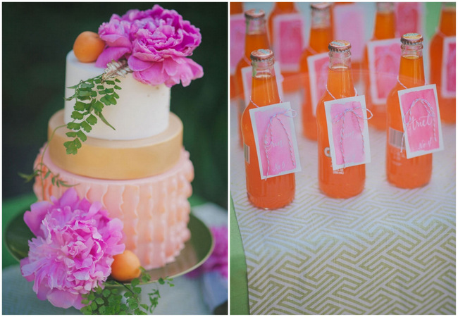 Orange Hot Pink Watercolor Wedding Ideas by Alexandra Wallace Photography