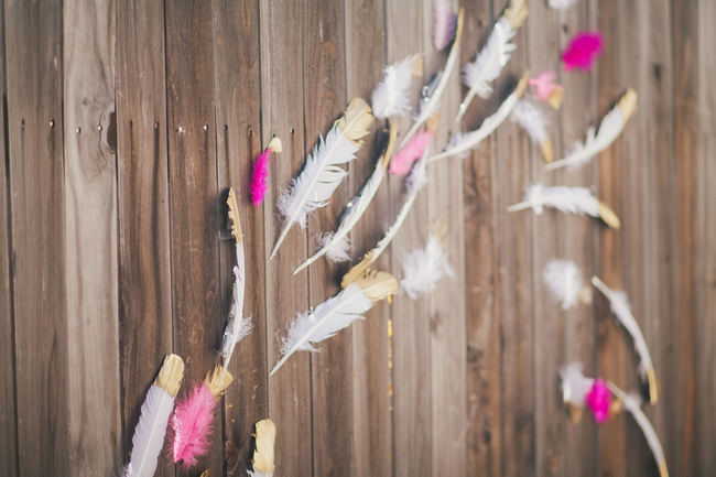 Dipped gold and pink feathers // Orange Hot Pink Watercolor Wedding Ideas by Alexandra Wallace Photography